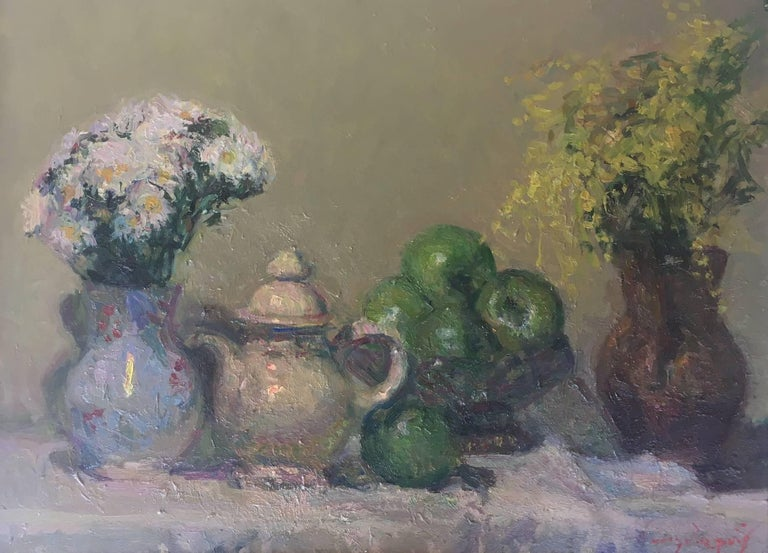 Still life green apples original impressionist oil canvas painting - Painting by Joan SOLA PUIG