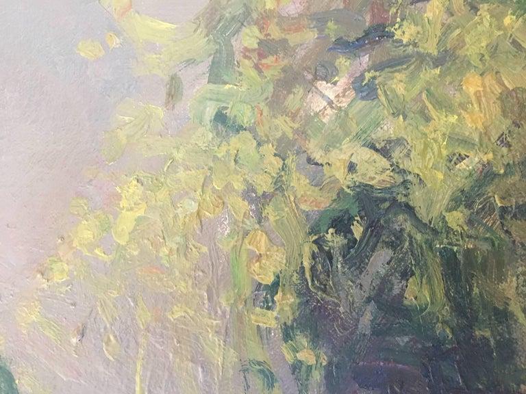 Still life green apples original impressionist oil canvas painting - Impressionist Painting by Joan SOLA PUIG