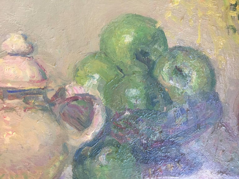 Still life green apples original impressionist oil canvas painting For Sale 1