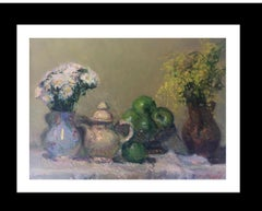 Still life green apples original impressionist oil canvas painting