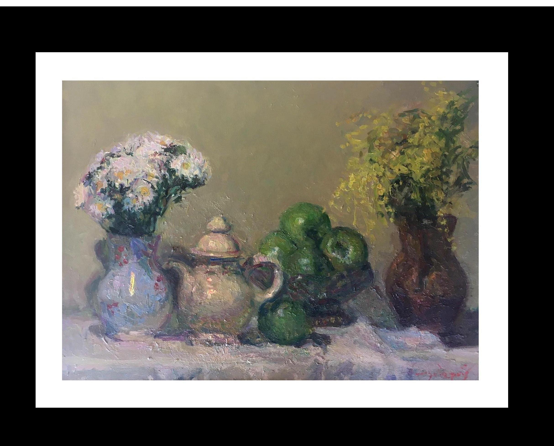 Still life green apples original impressionist oil canvas painting