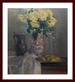 still life. jug of flowers. original impressionist oil canvas painting