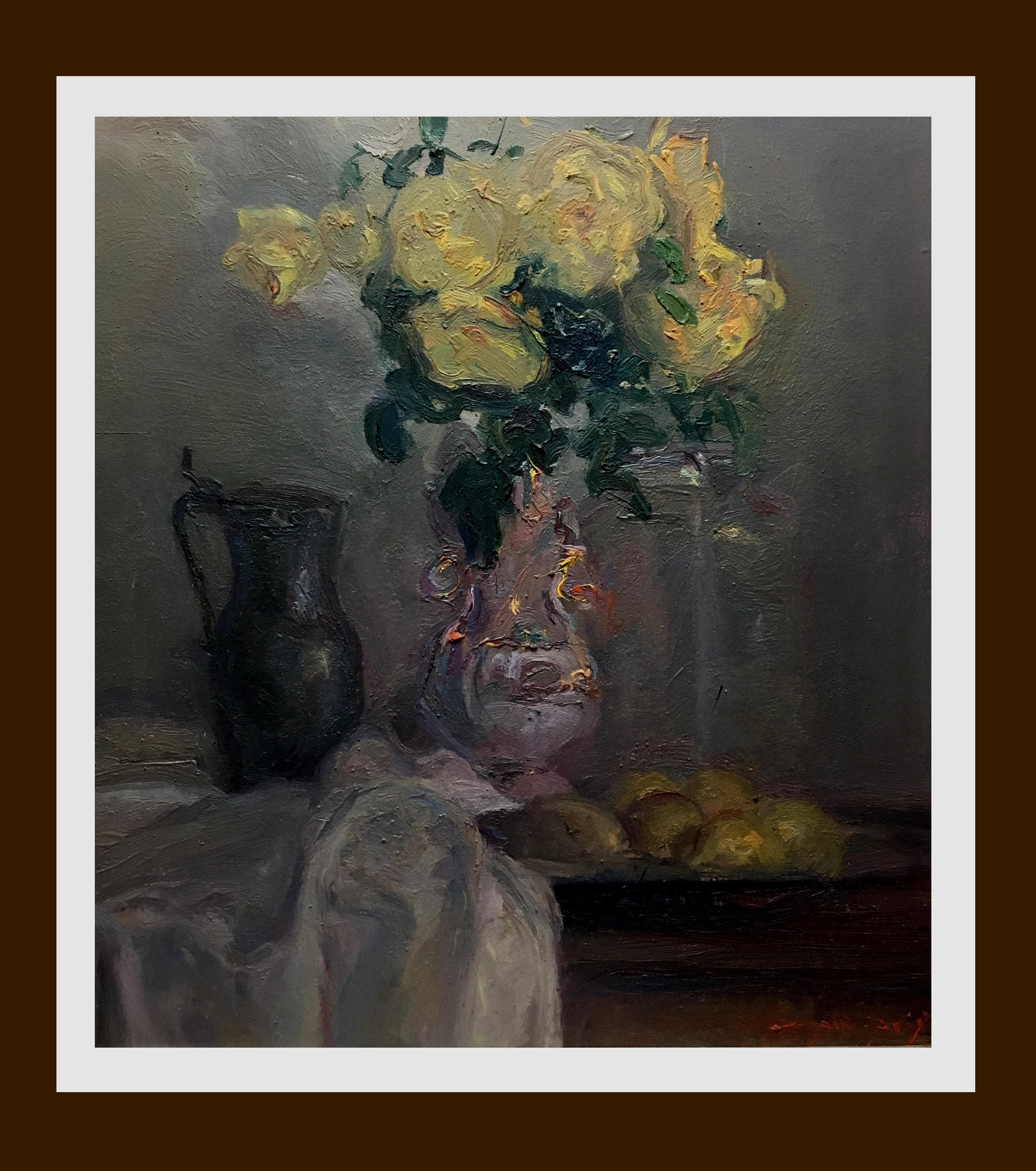 still life. jug of flowers. original impressionist oil canvas painting