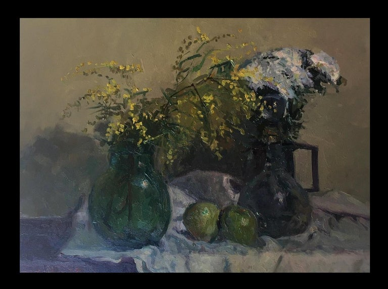 still life. mimosas and fruits. original impressionist oil canvas painting - Painting by Joan SOLA PUIG