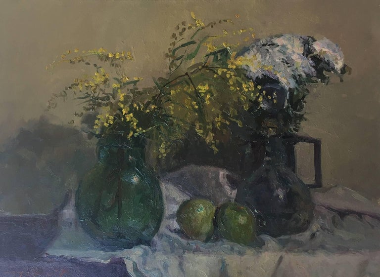 still life. mimosas and fruits. original impressionist oil canvas painting - Impressionist Painting by Joan SOLA PUIG