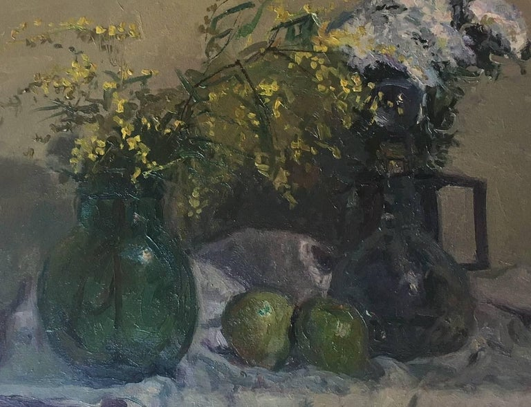 still life. mimosas and fruits. original impressionist oil canvas painting - Black Still-Life Painting by Joan SOLA PUIG
