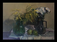 still life. mimosas and fruits. original impressionist oil canvas painting