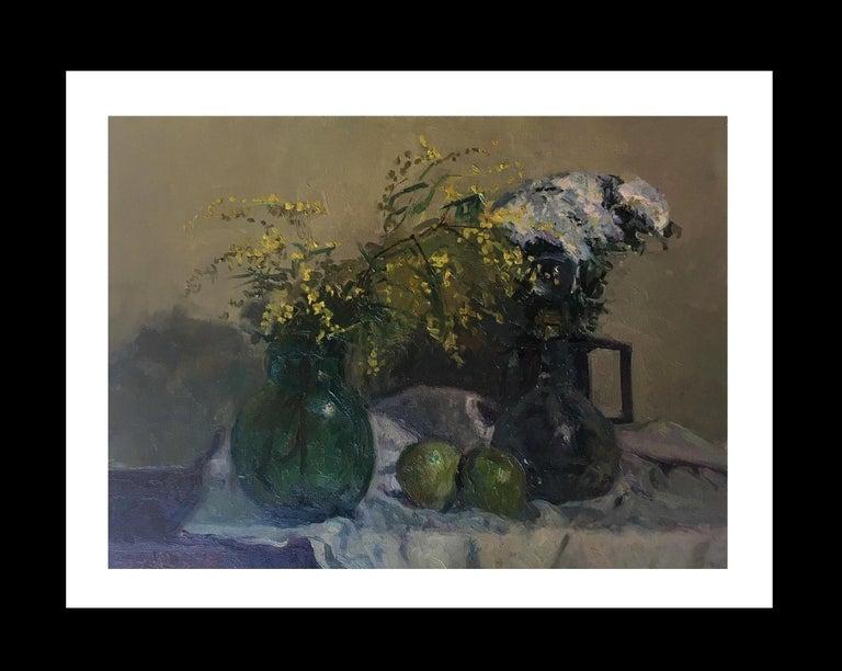 Joan SOLA PUIG Still-Life Painting - still life. mimosas and fruits. original impressionist oil canvas painting