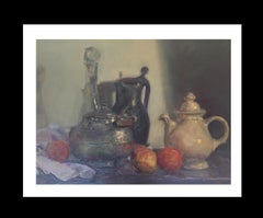 Still life truit and jars original impressionist oil canvas painting
