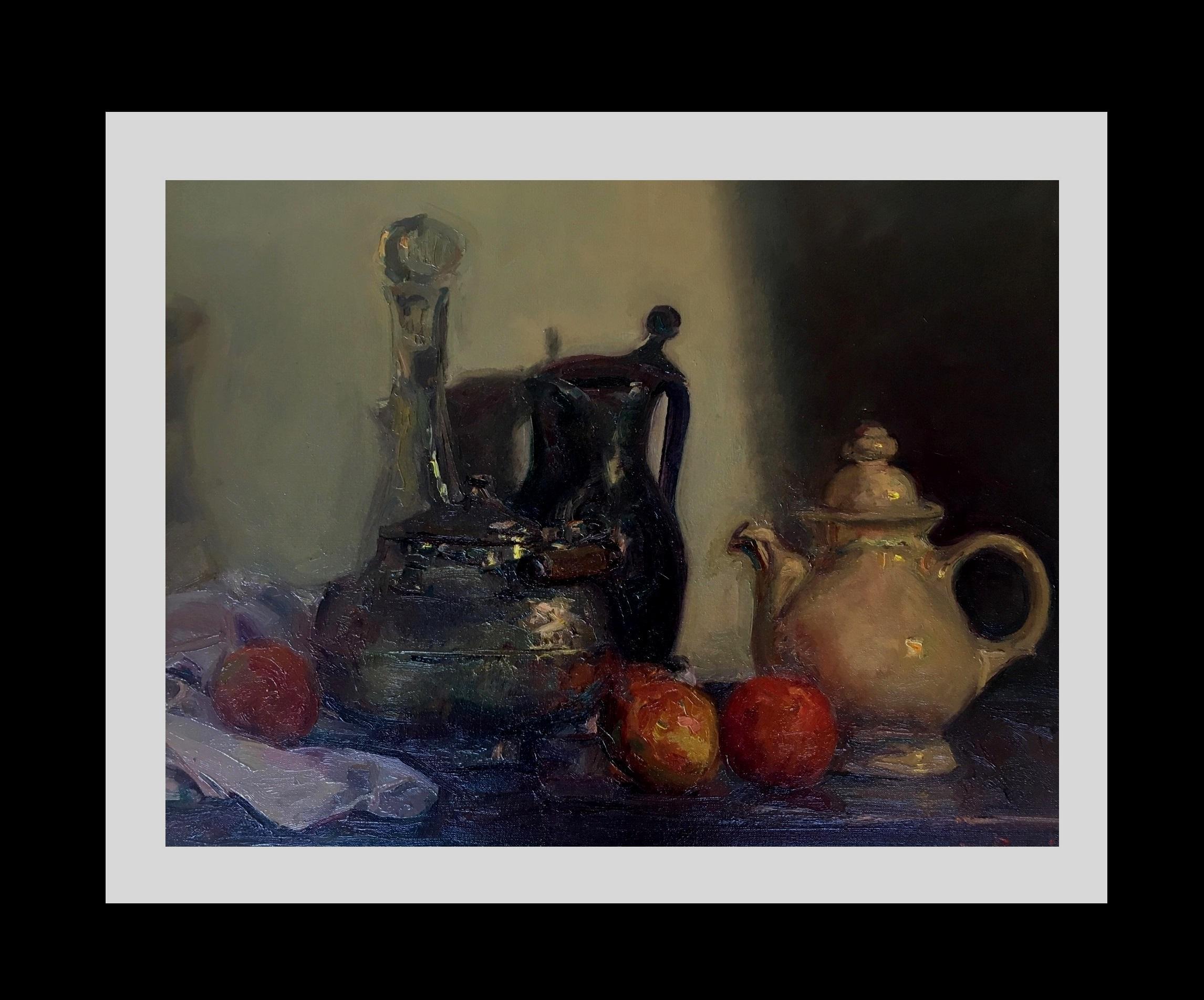 Still life truit and jars original impressionist oil canvas painting