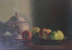 Still life tureen apple- original impressionist oil canvas painting
