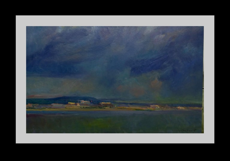 Joan SOLA PUIG Landscape Painting - Storm in the sea original impressionist acrylic painting