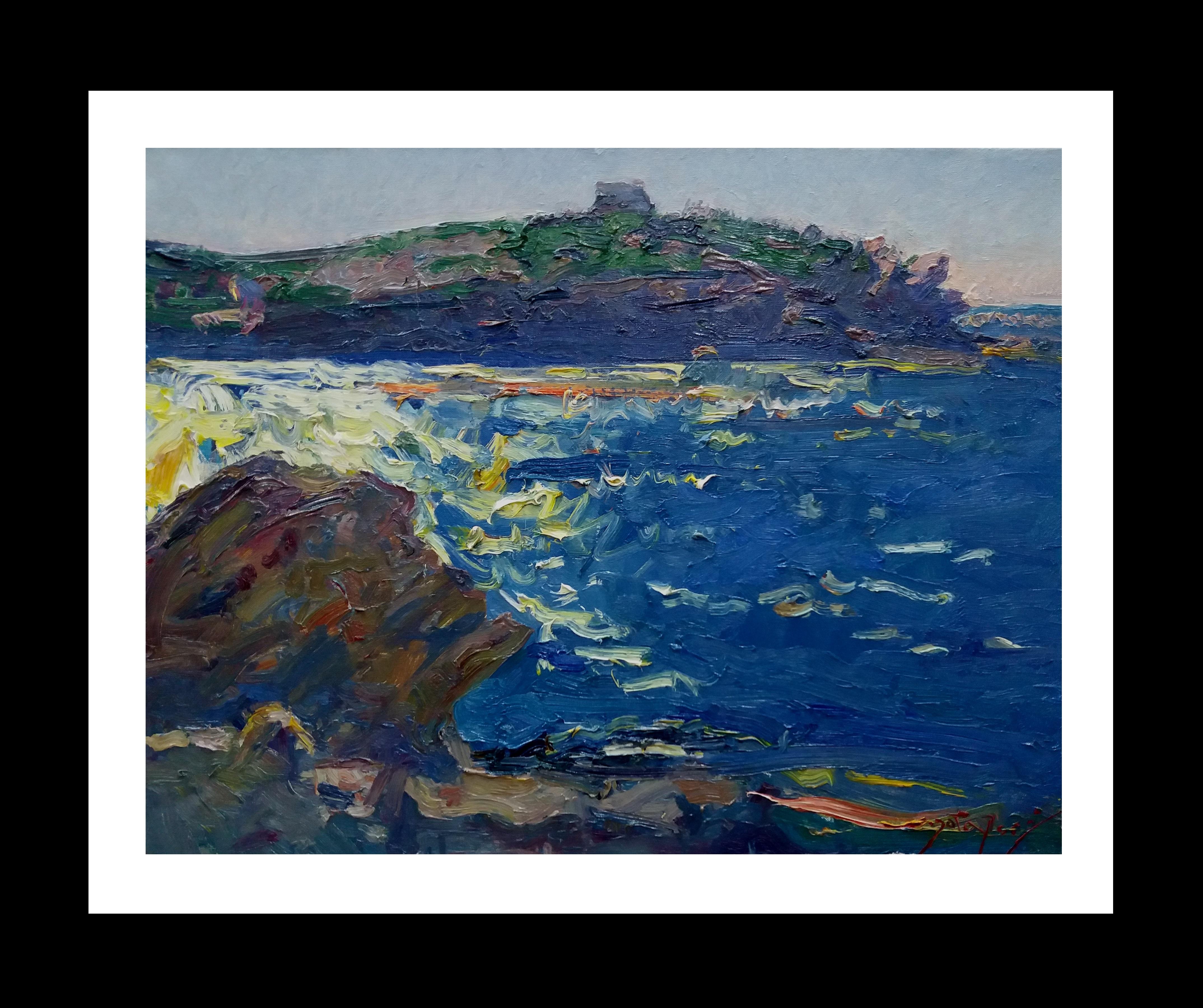 surf original impressionist acrylic painting