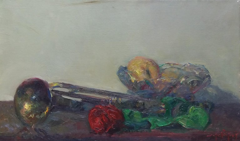 trumpet and colors original impressionist acrylic painting - Painting by Joan SOLA PUIG