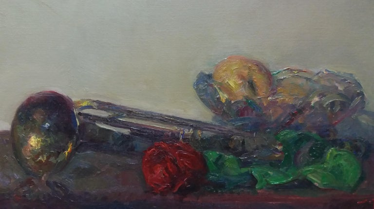 trumpet and colors original impressionist acrylic painting - Impressionist Painting by Joan SOLA PUIG