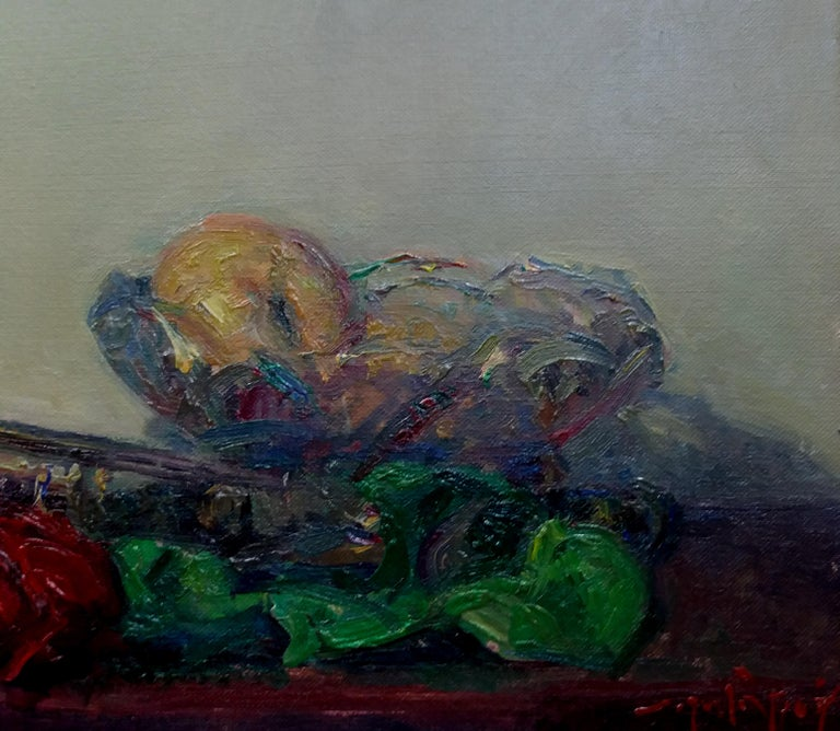 trumpet and colors original impressionist acrylic painting - Black Still-Life Painting by Joan SOLA PUIG