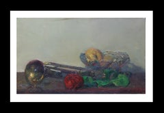 trumpet and colors original impressionist acrylic painting