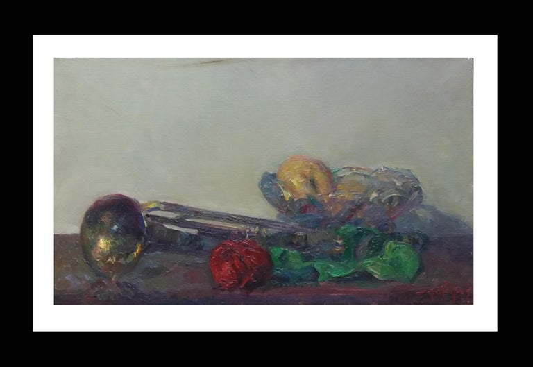 Joan SOLA PUIG Still-Life Painting -  trumpet and colors original impressionist acrylic painting