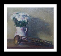trumpet and daisies original impressionist acrylic painting