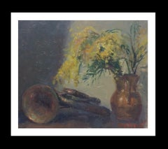 TRUMPET AND MIMOSA original impressionist acrylic painting