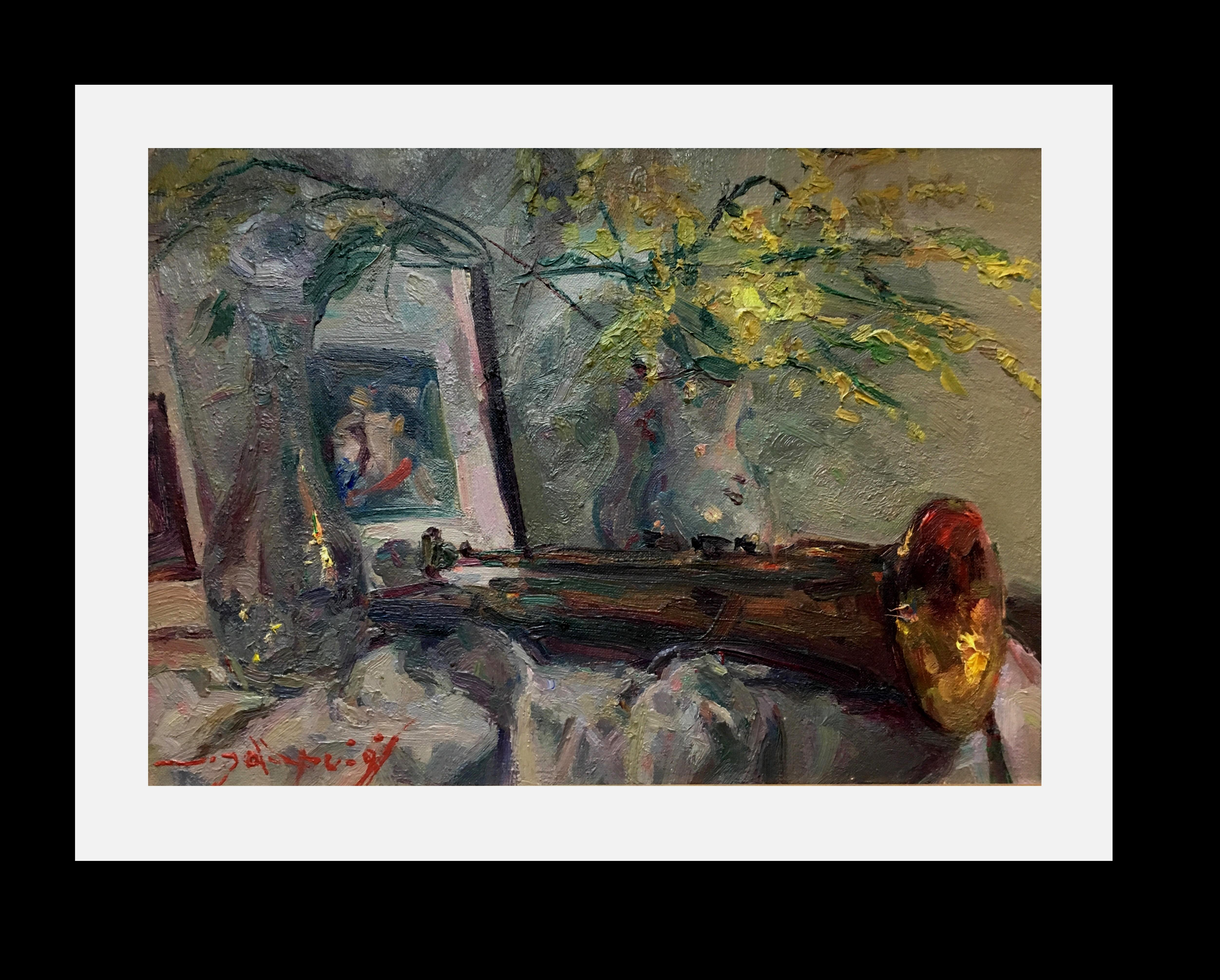 trumpet. Mimosas and book Original impressionist oil canvas painting