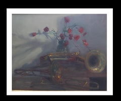 trumpets and carnations original impressionist acrylic painting
