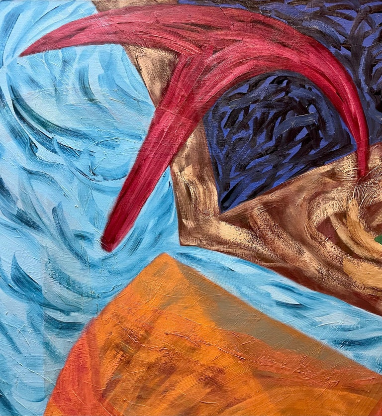 This is a large colorful, bold, vibrant original oil painting on canvas, hand signed and dated 1989. It is titled Tango.  Joan Thorne (1943-) is a New York artist nationally and internationally recognized. A third generation Abstract Expressionist