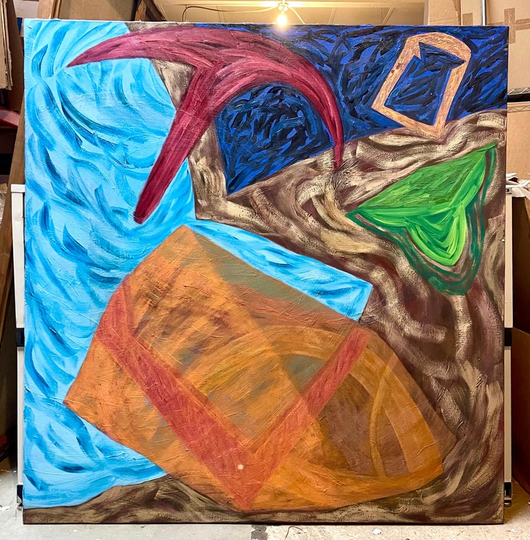 Large Colorful 1980s New York Abstract Expressionist Oil Painting Joan Thorne For Sale 6