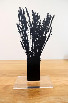 Lavender - Floral black shadow silhouette flower bouquet plant sculpture, nature