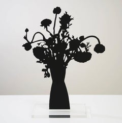 Orange Ranunculus - Floral black shadow flower bouquet plant sculpture, nature