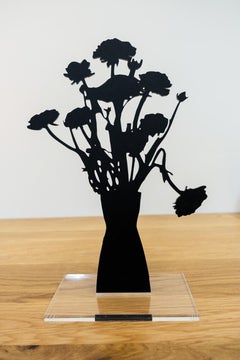 Red Ranunculus - Floral black shadow flower bouquet plant sculpture, nature