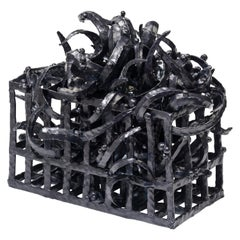 Joanna Poag Ceramic Binding Time 'Black Grid with Leaves' Sculpture, 2019