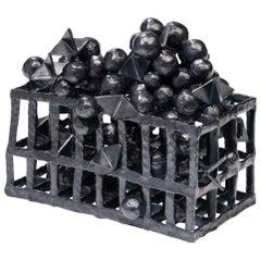 Joanna Poag Binding Time (Black Grid with Spheres) Ceramic Sculpture, 2019
