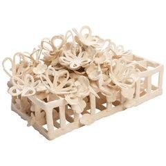Joanna Poag Ceramic Binding Time (Grid with Quatrefoils & Flowers) Sculpture