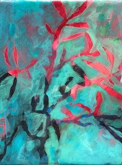 Astwerk_245 - Minimalist, Acrylic, Resin on Wood, 21st Century, Floral Painting
