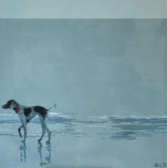 A pointer - Contemporary Figurative Acrylic Painting, Minimalism, Pop art, Dog