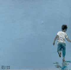 A running one - Figurative Acrylic Painting, Minimalism, Pop art, Muted colors