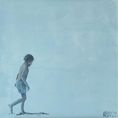 Beach. A walking boy - Figurative Acrylic Painting, Minimalism, Pop art