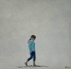 Beach. A walking girl - Figurative Acrylic Painting, Minimalism, Pop art