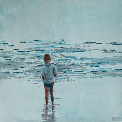 Beach. Boy and waves - Figurative Acrylic Painting, Minimalism, Pop art