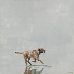 Beach. Dog with a ball - Figurative Acrylic Painting Minimalism Pop art, Animal