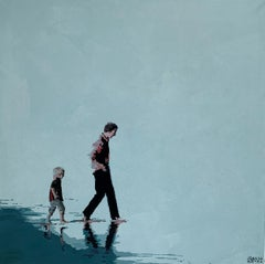 Beach. Father and son - Figurative Acrylic Painting, Minimalism, Pop art