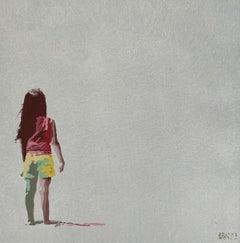 Beach. In yellow shorts - Figurative Acrylic Painting, Minimalism, Pop art