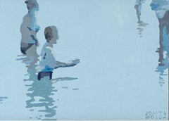 Beach. Two in a water - Figurative Acrylic Painting, Minimalism, Pop art