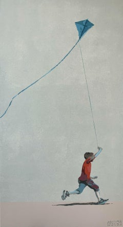 Boy in a red blouse with a kite - Contemporary Figurative Painting, Minimalism