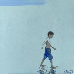 Boy in blue trousers - Figurative Acrylic Painting, Minimalism, Pop art