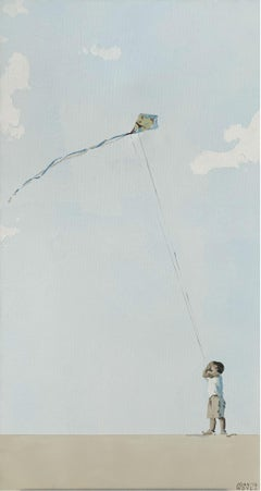 Boy with a kite - Contemporary Figurative Acrylic Painting, Minimalism, Pop art