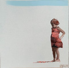 Girl in a dress - Figurative Acrylic Painting, Minimalism, Pop art