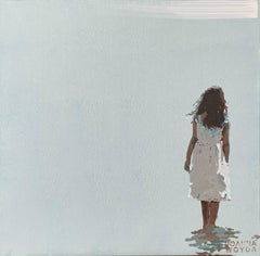 Girl in a white dress - Figurative Acrylic Painting, Minimalism, Pop art