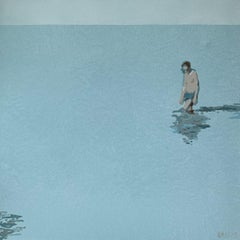 Man in a water - XXI Century Acrylic Painting, Minimalism, Muted Colors